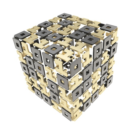 cybernetics: IT Technology and cybernetics  dimensional cube made of ones and zeros isolated on white Stock Photo