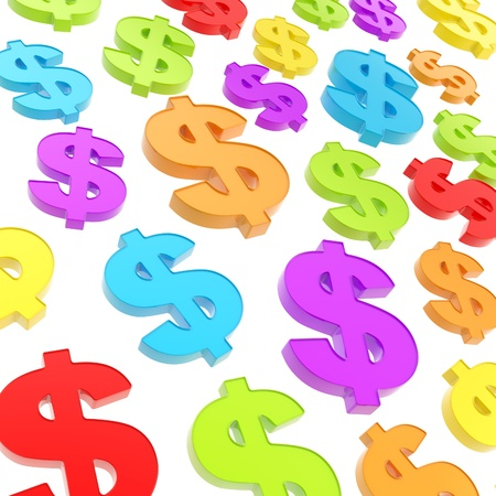 USD american dollar currency colorful glossy signs composition as abstract business background photo