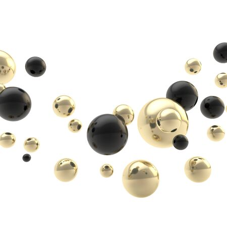 lucid: Abstract backdrop composition made of black and golden shiny glossy spheres on white background