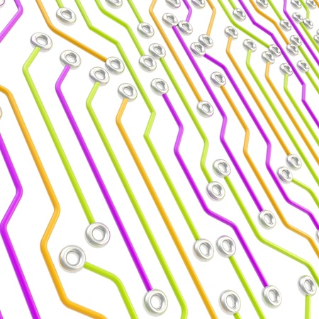 microcircuit: Microcircuit chip dimensional colorful scheme over white as technology and science abstract background Stock Photo