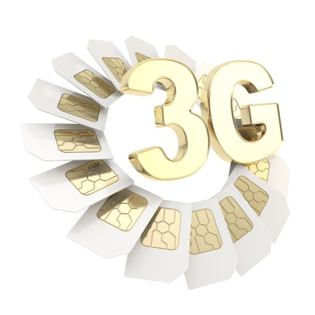 prepaid card: 3G golden emblem surrounded with circuit microchip SIM cardS isolated on white background