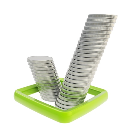 Ok tick sign green checkbox made of silver coin stacks isolated on white background photo