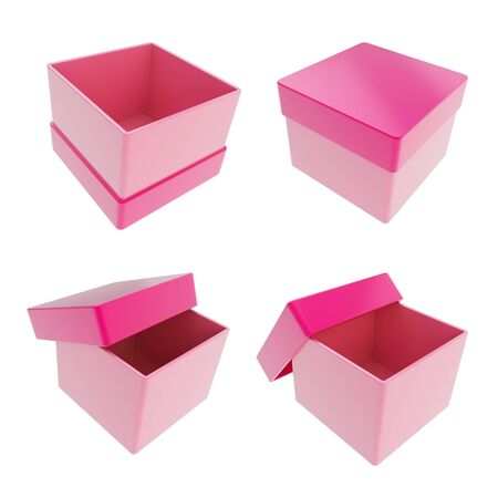 Set of four parallelogram cube shaped glossy pink gift boxes isolated on white background photo