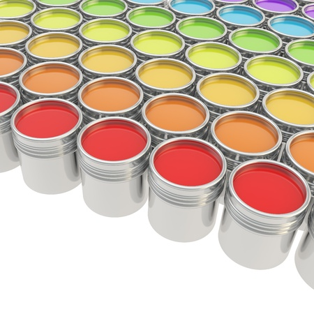 Buckets full of rainbow colored oil paint over white background photo