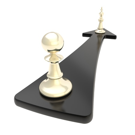 Promotion conception  chess pawn turns into the king over the black arrow isolated on white background photo