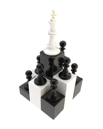 self development: Self development conception  chess king at the top among multiple black and golden pawns isolated on white background