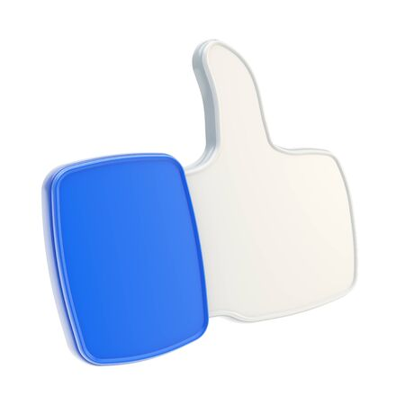 Thumb up like glossy plastic dimensional blue icon isolated on white background photo