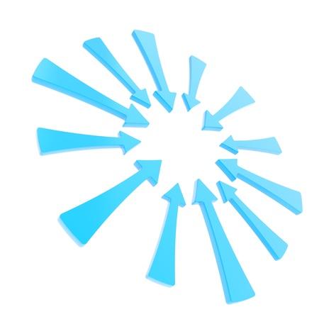 poner atencion: Preste atenci�n copyspace marco redondo hecho de flechas azules brillantes aislados sobre fondo blanco