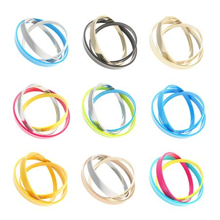 Nine copyspace round frames for emblems of icons, made of colorful glossy ring hoops isolated on white background photo