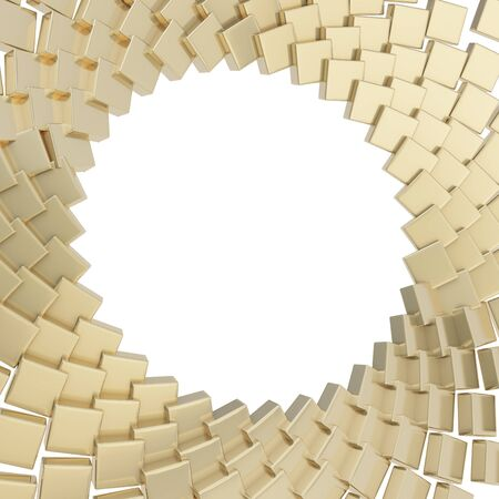 Abstract copyspace round frame golden glossy reflection cube plate composition isolated over white photo