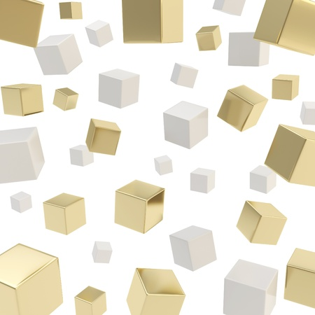 Glossy gray and golden cube composition over white background as abstract backdrop Stock Photo - 15973201