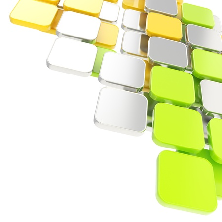 building blocks: Abstract copyspace glossy chrome metal, green and yellow plate composition background over white with the space for your text