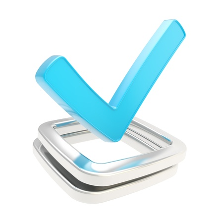 todo: Yes blue check tick glossy emblem icon over chrome metal checkbox isolated on white background