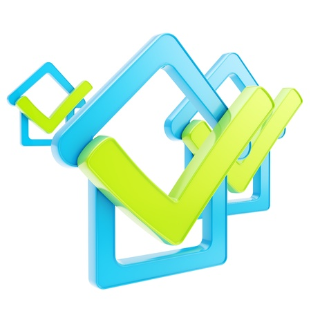 Real estate rating  composition of blue glossy checked house emblems with green yes tick icon over it isolated on white photo