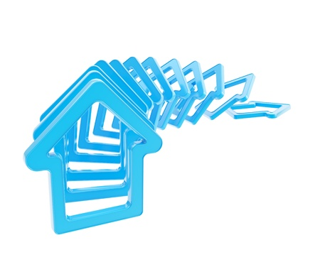 domino effect: Crashing real estate market  queue line of blue glossy house emblems falling down as domino effect isolated on white background Stock Photo