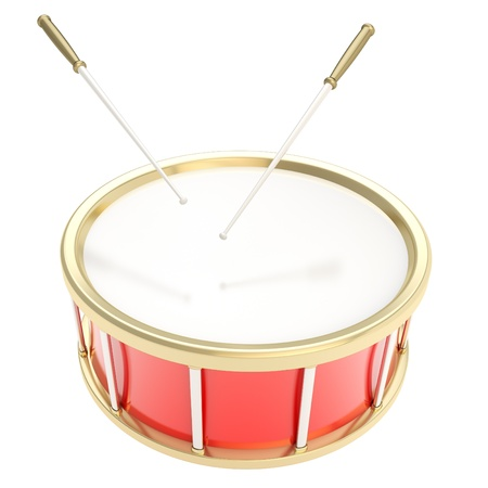 Red glossy drum barrel with sticks isolated on white background photo