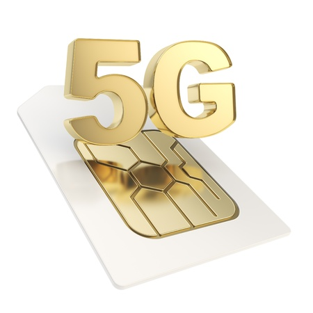 5G circuit microchip SIM card emblem isolated on white background