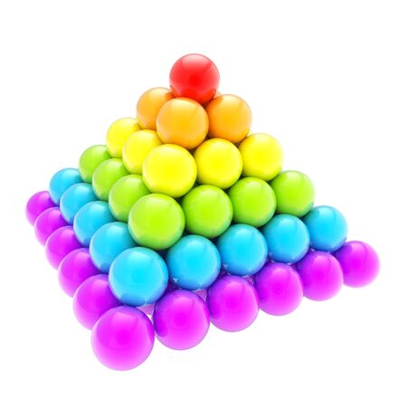 Pile pyramid of colorful rainbow colored glossy spheres isolated on white background Stock Photo