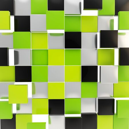 Abstract background backdrop made of glossy green, black and chrome metal square plates photo