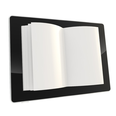 e ink: Digital book format icon as stylish glossy tablet pad electronic device with the real horizontal oriented book paper pages instead of screen isolated on white background