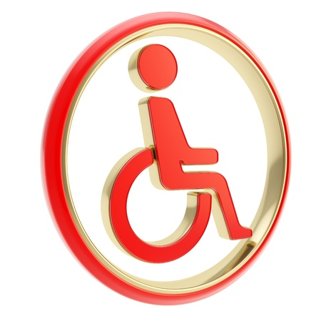Disabled handicapped person circle round icon red emblem isolated on white background Stock Photo - 17226737
