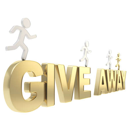 give away: Compete for the free give away  group of human symbolic figures running over the golden word isolated on white background Stock Photo