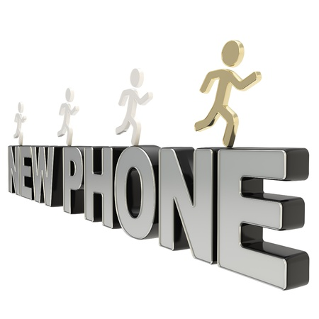 Get your new phone model  group of human symbolic figures running over the chrome metal word isolated on white background Stock Photo - 17226507