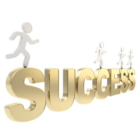 Compete for success conception  group of human symbolic figures running over the golden word isolated on white background Stock Photo - 17226455