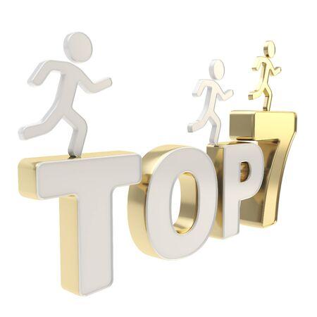 top 7: Top siete l�deres de grupo ilustraci�n de figuras simb�licas humanos corren sobre el metal dorado cromo Top-7 composici�n aislada sobre fondo blanco Foto de archivo