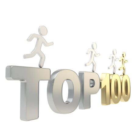 Top hundred leaders illustration  group of human symbolic figures running over chrome metal and golden Top-100 composition isolated on white background Stock Illustration - 17226377