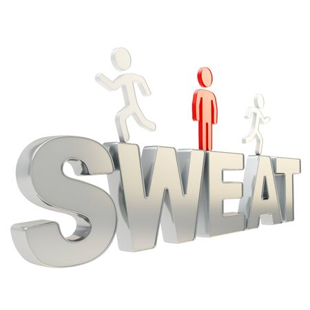 perspiration: Sweat illustration  group of human symbolic figures running over the chrome metal word composition isolated on white background Stock Photo