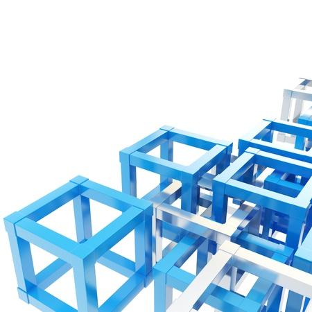 抽象的な背景製光沢のある青と白のフラグメントのクロム金属キューブ