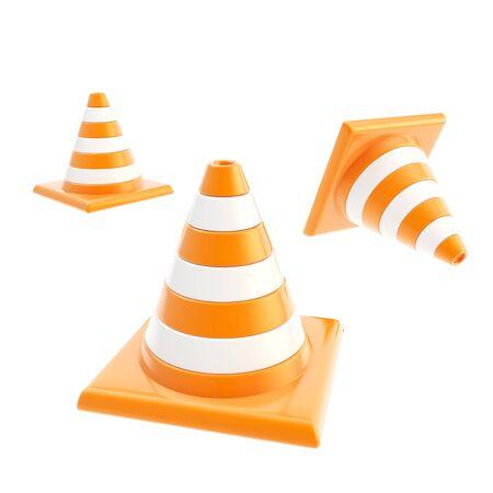 roadworks: Roadworks orange cone composition isolated on white background