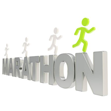 Run the Marathon illustration  group of human symbolic figures running over the chrome metal word isolated on white background Stock Illustration - 17226456