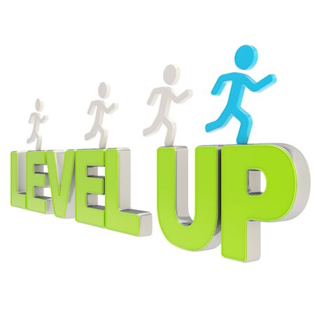 runner up: Run for the Level up conception  group of human symbolic figures running over the green word isolated on white background