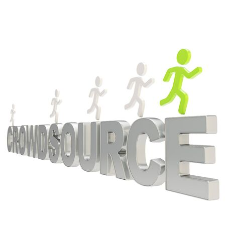 human source: Crowdsource conception illustration  group of human symbolic figures running over the chrome metal words Crowd Source isolated on white background
