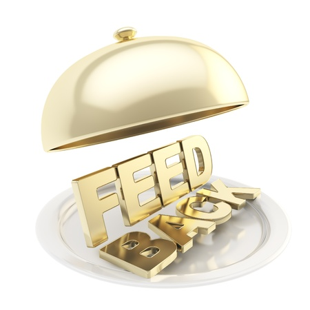 review icon: Golden word Feedback on salver plate under the food cover isolated on white background