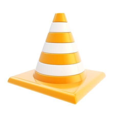 roadworks: Roadworks orange glossy cone isolated on white background Stock Photo
