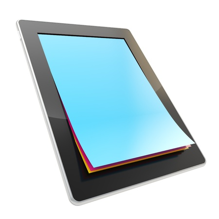 e ink: Take a digital note  stylish glossy tablet pad electronic device with the real vertical oriented a4 cmyk colored paper pages instead of screen isolated on white background