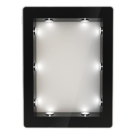 白い背景で隔離の画面として空 copyspace 逆光で照らされたショーケースと黒の光沢のあるタブレット パッド電子デバイス 写真素材