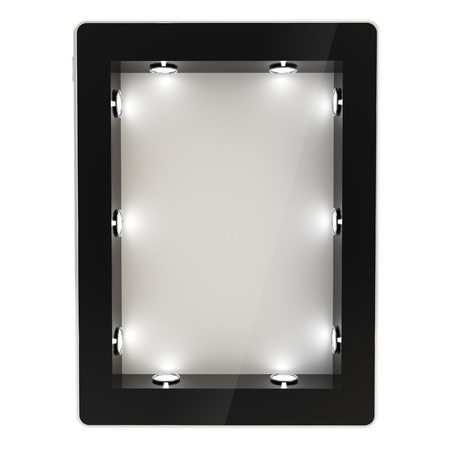 Black glossy tablet pad electronic device with empty copyspace backlighted showcase as a screen, isolated on white background