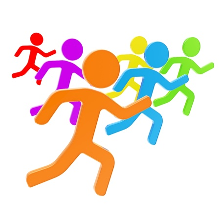 Group of symbolic human figures running for the leader, sport and leadership conception composition isolated on white background 스톡 콘텐츠