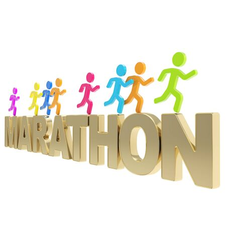 Run the Marathon illustration  group of colorful human symbolic figures running over the chrome metal word isolated on white background Stock Illustration - 17226503