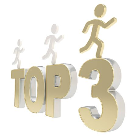 Top three leaders illustration  group of human symbolic figures running over the metal Top-3 composition isolated on white background Stock Illustration - 17226468