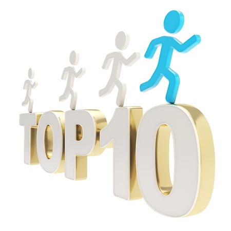 Top ten leaders illustration  group of human symbolic figures running over the golden Top-10 composition isolated on white background Stock Illustration - 17226476