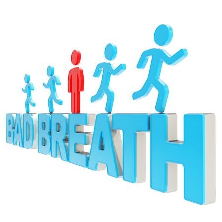 breath: Bad breath illustration  group of human symbolic figures running over the blue glossy words isolated on white background Stock Photo