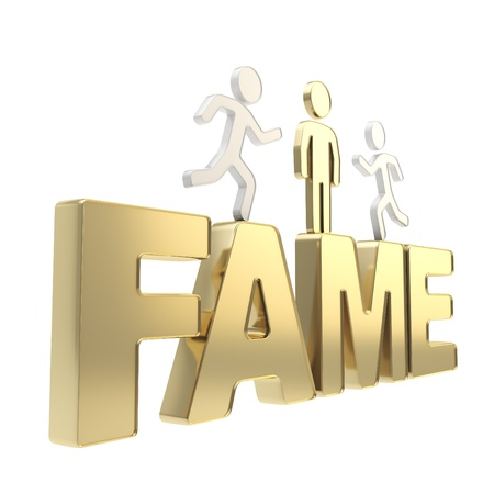notability: Fame conception illustration  group of human symbolic figures running over the golden word composition isolated on white background Stock Photo