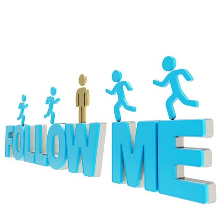 Follow me illustration  group of human symbolic figures running over the blue words composition isolated on white background Reklamní fotografie