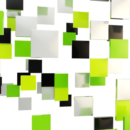 Abstract backdrop made of glossy green, black and chrome metal square plates over white background photo