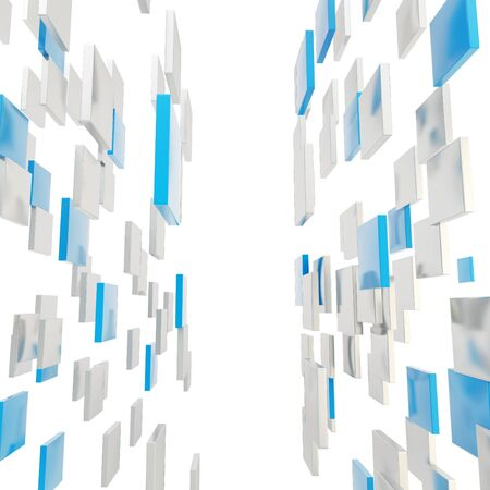 Abstract background perspective copyspace backdrop made of glossy blue and silver square plates over white Stock Photo - 17226804